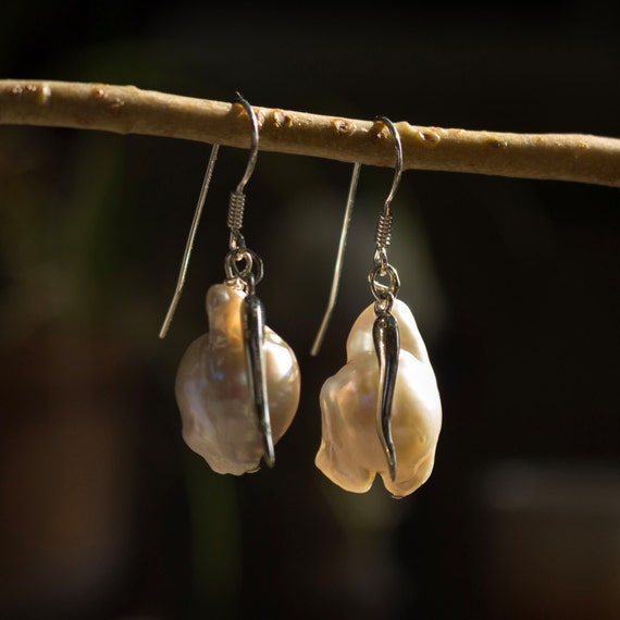 White Pearl and Silver Drop Charm Earrings