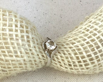 Multi-Faceted Colorless to Light Golden Goshenite Ring in Sterling Silver