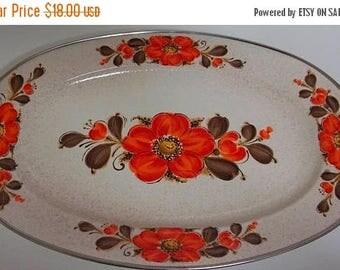 """On Sale Vintage Sanko Ware Show Pans Enamelware Platter, 18"""" x 12"""", Beige/Orange/Brown Floral Pattern, Serving Platter, Made in Japan"""