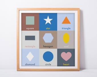 Educational Childrens Nursery Print, Shapes Poster for Babys Room