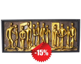"""Midcentury Abstract """"Lovers"""" Figural Wall Relief Sculpture"""