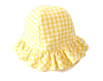 Toddler sun hat, 12 to 36 months, childs brimmed hat, yellow gingham hat, childs beach hat, childs summer hat, Easter hat, ruffled sun hat