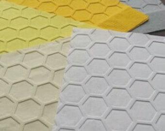 1 Dozen Dinner Honeycomb/Beehive Embossed Paper Napkins in 26 Colors