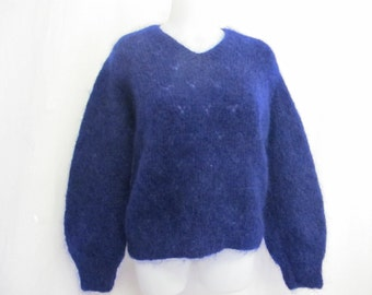 Mohair Sweater Mohair Pullover Handknit Mohair Sweater Cropped Sweater Indigo