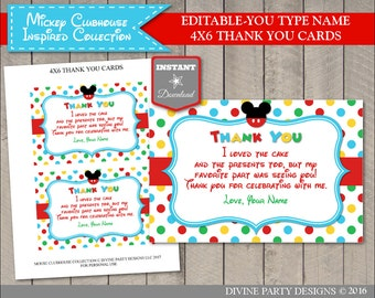 INSTANT DOWNLOAD Editable Mouse Clubhouse Printable 4x6 Thank You Card / Type You Name/ Item #1684