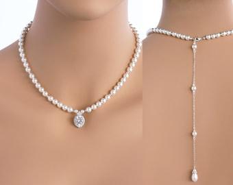 Vanessa - Swarovski Pearl Wedding Backdrop Necklace, Bridal Back Drop Necklace, Simple Pearl Necklace, Classic Sterling Silver Necklace