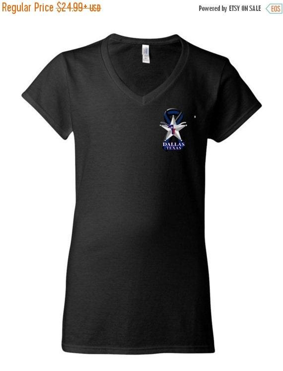 On sale ladies thin blue line ribbon dallas texas by for Texas thin blue line shirt