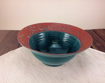 Hand thrown teal pottery bowl ceramic bowl with butterflies and elegant vines