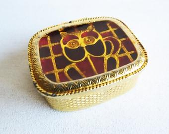 Vintage Owl Pill Box- Enamel Owl Gold Tone hinged lid pill box