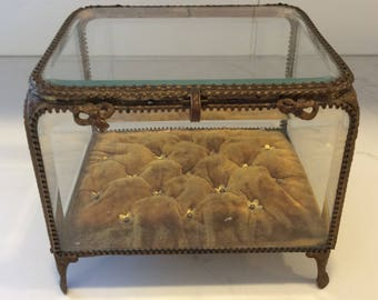Antique large Victorian beveled glass and brass jewelry casket box vitrine