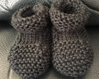 Hand Made Knitted Black Baby Booties - 3 - 6 Months