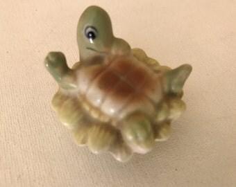 """Adorable Vintage Turtle Figurine sitting on a Leaf  1 1/2"""""""