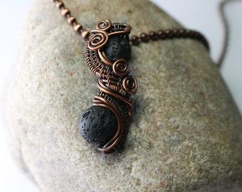 Oil Diffusing Lava Stone Pendant - Wire Wrapped Necklace - Wire Pendant - Wire Wrapped Jewelry - Ships Free in US
