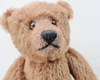 "old  Mohair Bear, Moveable Limbs, Glass Eyes, Long Paws, Stitched Nose, 10 1/4"" high,golden Brown"