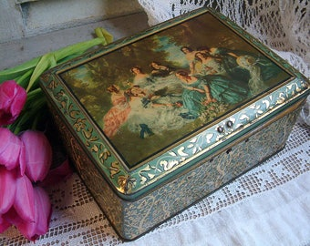 French vintage lithographed tin with women in mid-1800s dress. Little Women. Vintage tin. Shabby chic tin. Green and gold. Romantic decor