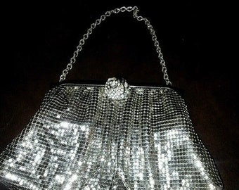 SALE Vintage Silver Mesh Clutch Handbag by Whiting & Davis