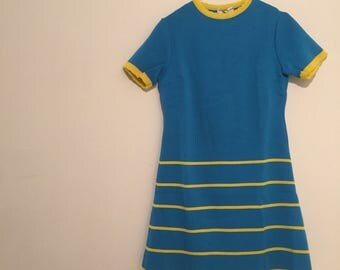Vintage sixties modette dress vestitino celeste a righe gialle yellow stripes size s