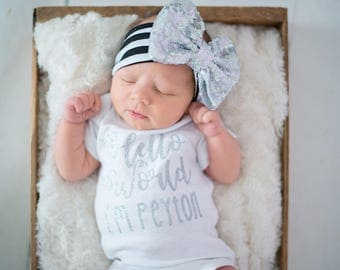 Hello World Coming home Set Custom Name Silver Glitter with Heart Silver headband and  Legwarmer Set Birth Announcement Bodysuit