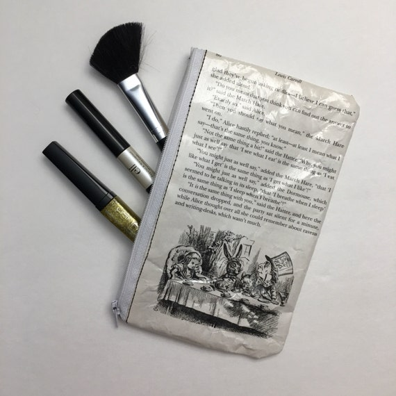 Alice in Wonderland Book Themed Pencil or Make-up Pouch - The Mad Tea Party