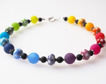 rainbow necklace glass pearls with dots handmade polaris necklace pride autism