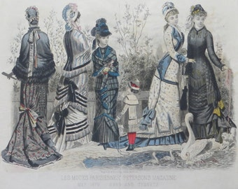 1879 Les Modes Parisiennes Peterson Magazine Swan and Cygnets Hand Colored Original Illustration - Free Shipping