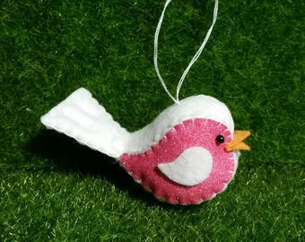 100% Wool Felt, Glitter Felt Birdie with hanger