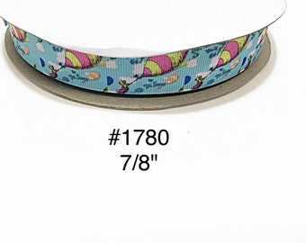 """3 or 5 yard - 7/8"""" Cat In The Hat Oh Place You'll Go Hot Balloon Air Blue Grosgrain Ribbon Hair bow"""
