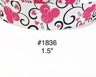 """3 or 5 yard - 1.5"""" Pink Minnie Mouse inspired with Black Swirl on White Grosgrain Ribbon Hair bow"""