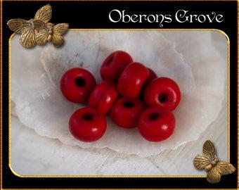30 red Magnesite Beads 5x3mm