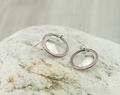 Moon earrings, copper and sterling silver, celestial jewelry, mixed metal, handmade, nickel free jewelry