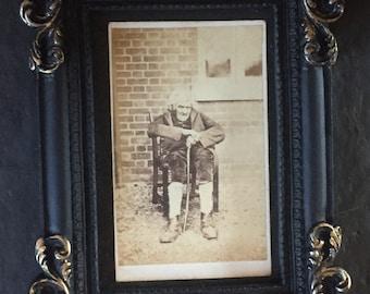 Antique Victorian Carte De Visite CDV Photo - Strange and Ancient Looking Old Man - Gothic Decor