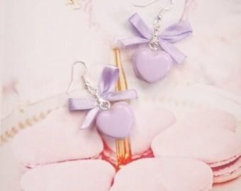 earrings purple heart macarons polymer clay
