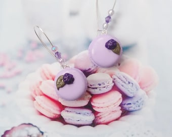 earrings macaroons purple blackberry polymer clay