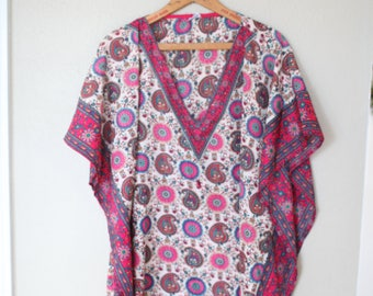 vintage bohemian pink tunic caftan dress