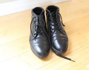 vintage black leather oxfords ankle boots lace up womens 6 1/2