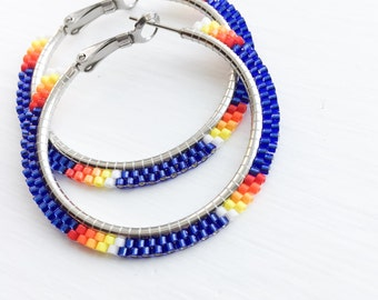Blue Sunset Beaded Hoop Earrings - Blue Beaded Hoop Earrings - Blue Beaded Earrings - Blue Hoop Earrings - Jewelry Gift for Her