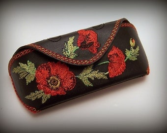 "Leather Glasses Case  ""Poppies"""