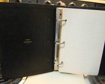 Vintage Vernon Line black loose leaf notebook binder, vintage loose leaf, vintage binder, 3 ring binder