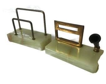 Vintage Onyx and Brass Calendar, Pen & Letter Holder, Vintage Desk Organizer Set