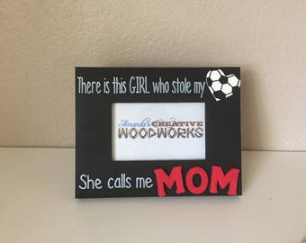 5x7 soccer theme girlboy who stole my heart picture frame soccer theme picture frame soccer mom soccer dad custom soccer frame