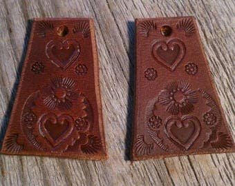 Hand Stamped Leather Earring Components Hand Tooled Leather Jewelry Hand Tooled Leather Drop Dangle Earrings Floral Heart Design