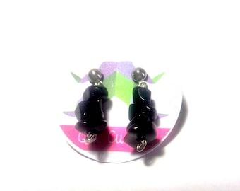 Onyx chips earrings