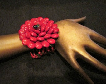 Flower Bracelet Chunky Red Multi Color Howlite Crystal Stretch Beaded Big Bold Statement Oversized Cuff Drag Queen Formal Dress Evening Wear