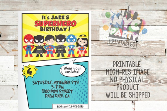 Superhero Birthday Party Invitation Superhero Birthday Invite – Superhero Birthday Invite