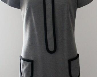 Gray 60s Mod Dress with Peter Pan Collar
