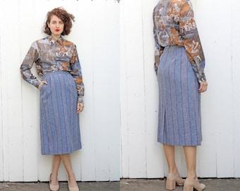 "Vintage 80s Skirt   80s High Waist Wool Midi Pencil Skirt with Pockets Blue   Medium M 28"""