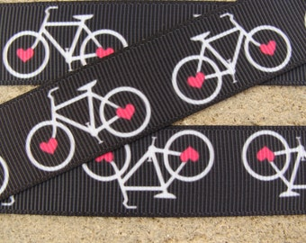 "3 yards Bike Ribbon white bicycle ribbon 7/8"" valentine bicycle grosgrain printed hair bow ribbon"