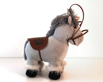 Vintage 80s CABBAGE PATCH KID horse gray with saddle and bridle