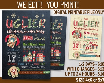 Ugly Sweater Party / Christmas H oliday Party Invitation / Double Sided Printable Invitation