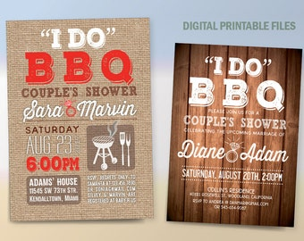 I do BBQ Couples Shower, Couples Shower Canvas Invitation, BBQ, Printable DIY